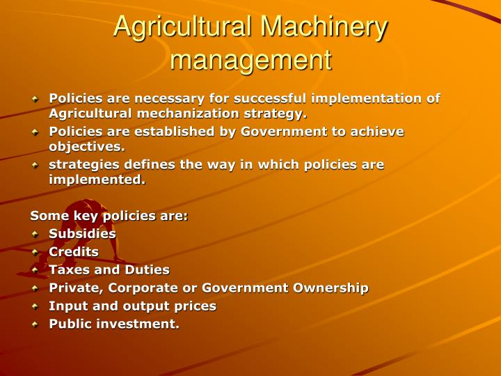 Agricultural Machinery management