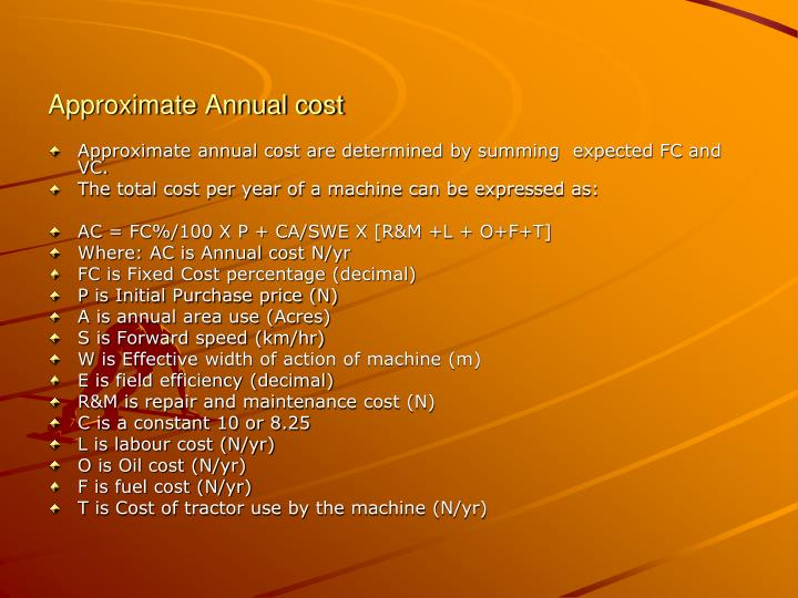 Approximate Annual cost