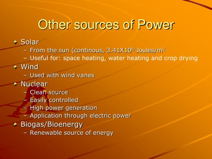 Other sources of Power