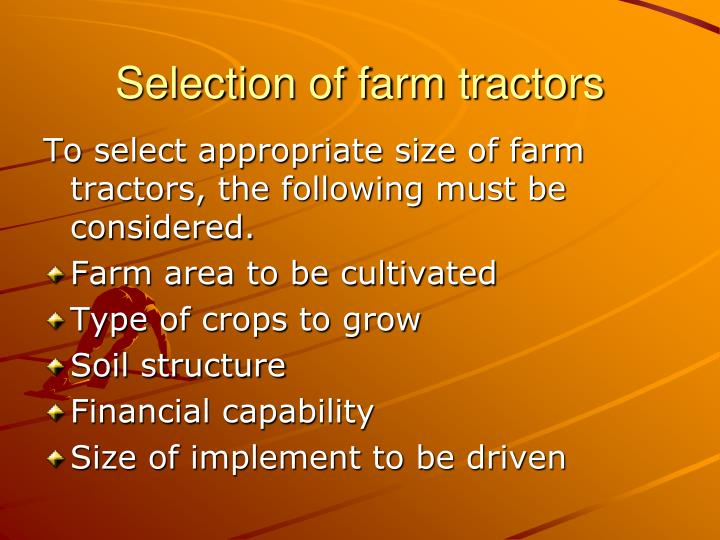 Selection of farm tractors