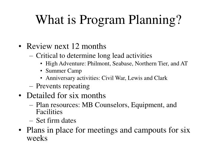 What is Program Planning?