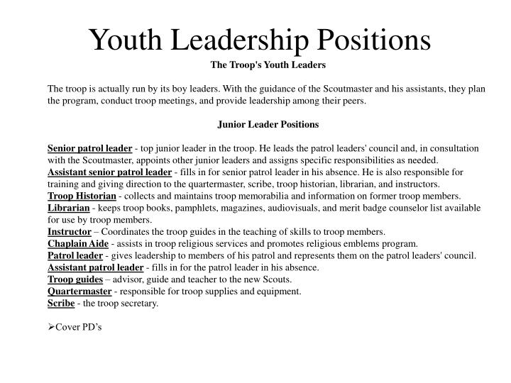 Youth Leadership Positions