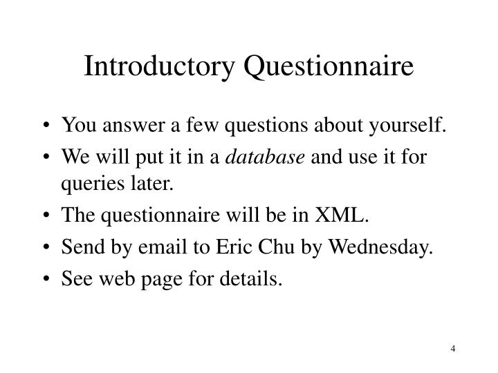 Introductory Questionnaire