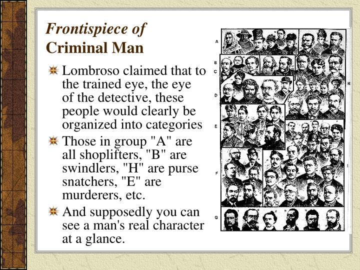 Lombroso claimed that to the trained eye, the eye of the detective, these people would clearly be organized into categories