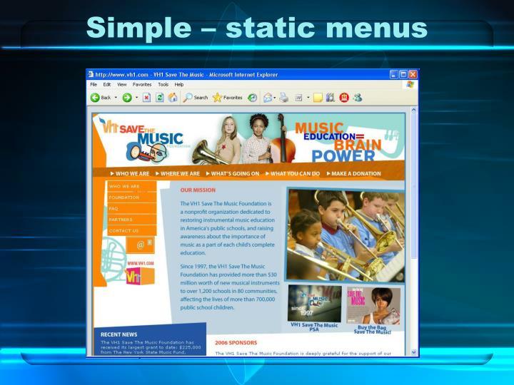 Simple – static menus