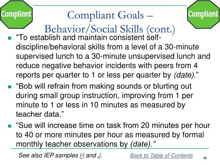 Compliant Goals –