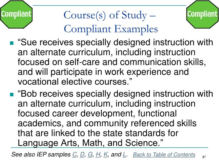 Course(s) of Study –