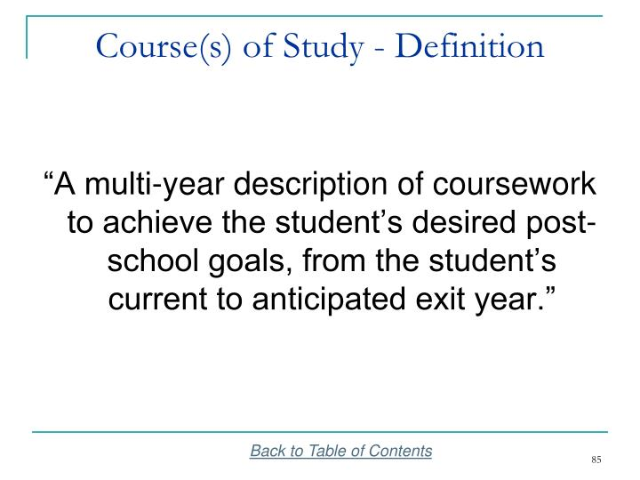 Course(s) of Study - Definition