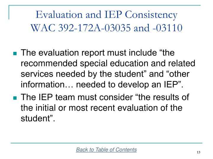 Evaluation and IEP Consistency