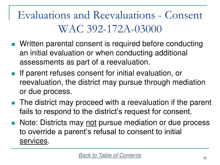 Evaluations and Reevaluations - Consent