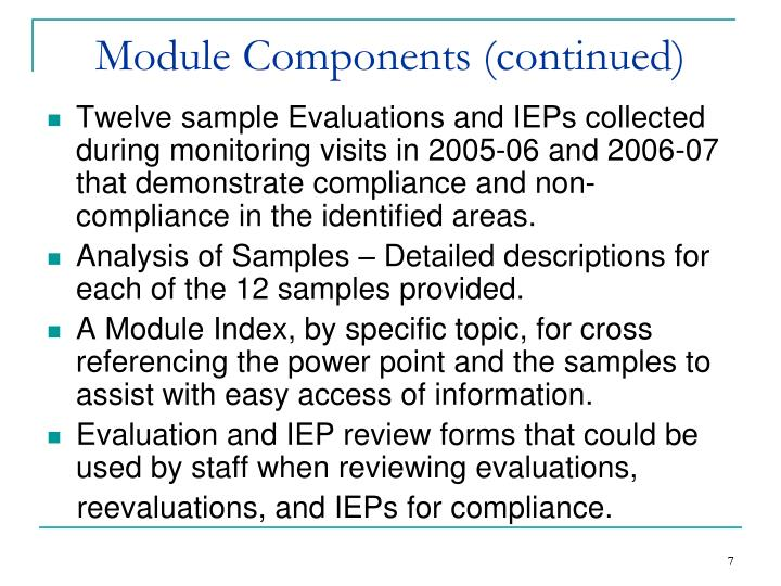 Module Components (continued)