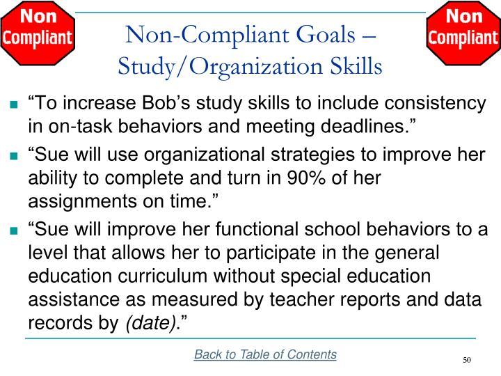 Non-Compliant Goals –