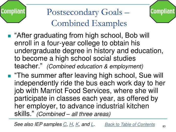 Postsecondary Goals –