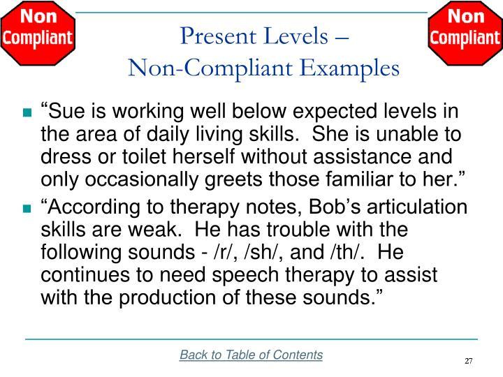 Present Levels –