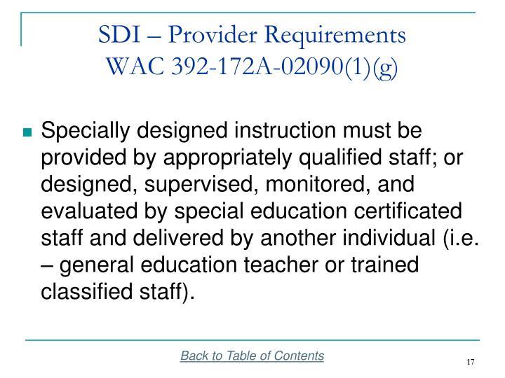SDI – Provider Requirements