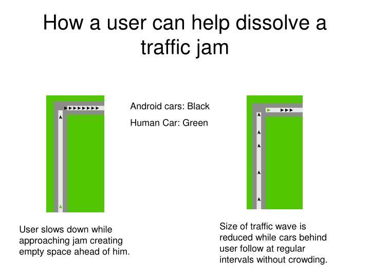 How a user can help dissolve a traffic jam