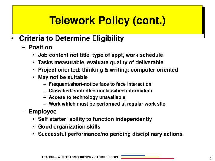 Criteria to Determine Eligibility