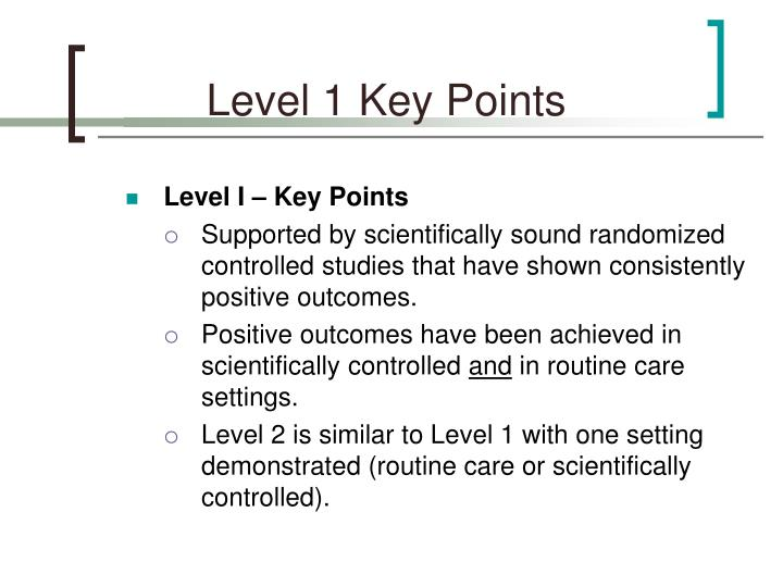 Level 1 Key Points