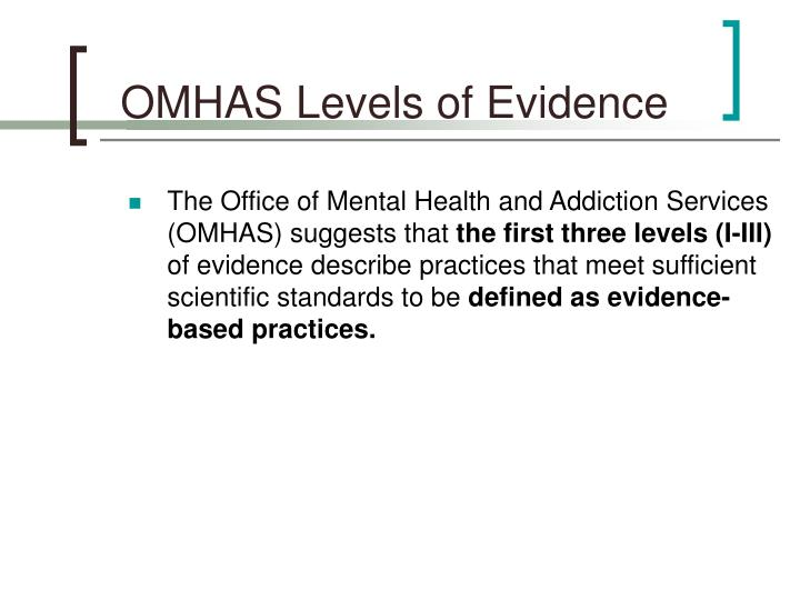 OMHAS Levels of Evidence