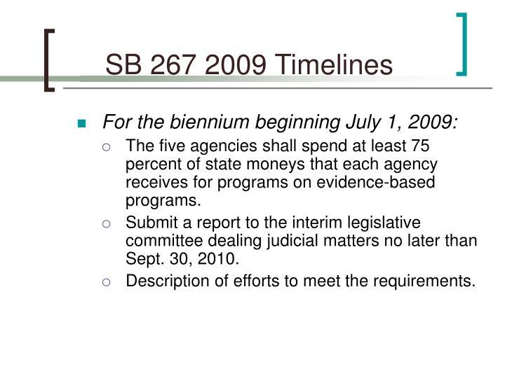 SB 267 2009 Timelines