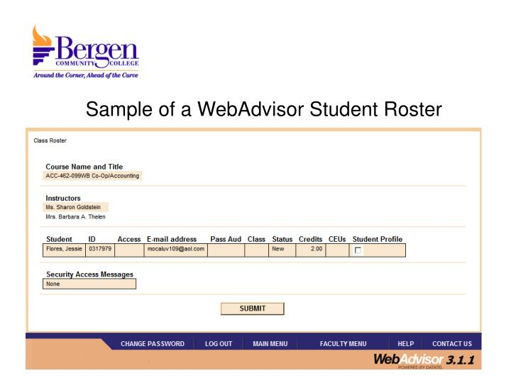 Sample of a WebAdvisor Student Roster