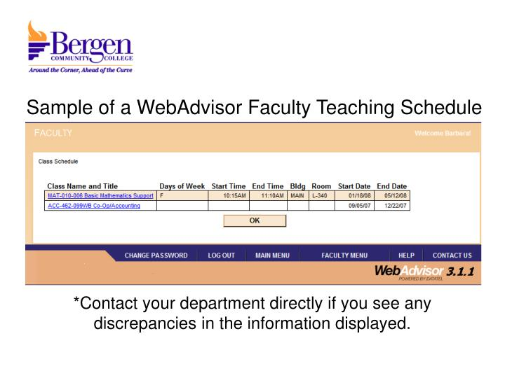 Sample of a WebAdvisor Faculty Teaching Schedule