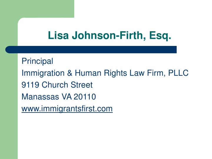 Lisa Johnson-Firth, Esq.