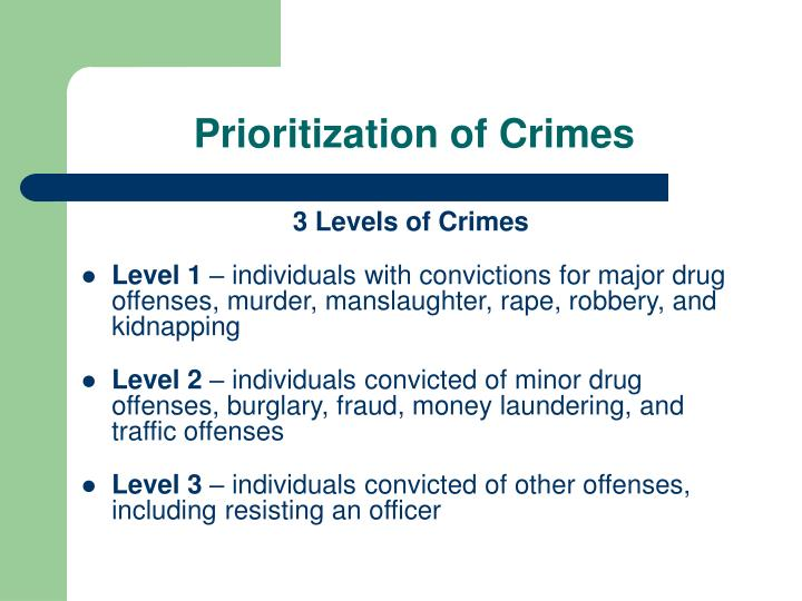 Prioritization of Crimes