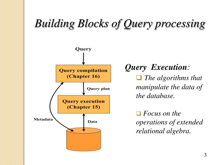 Building blocks of query processing