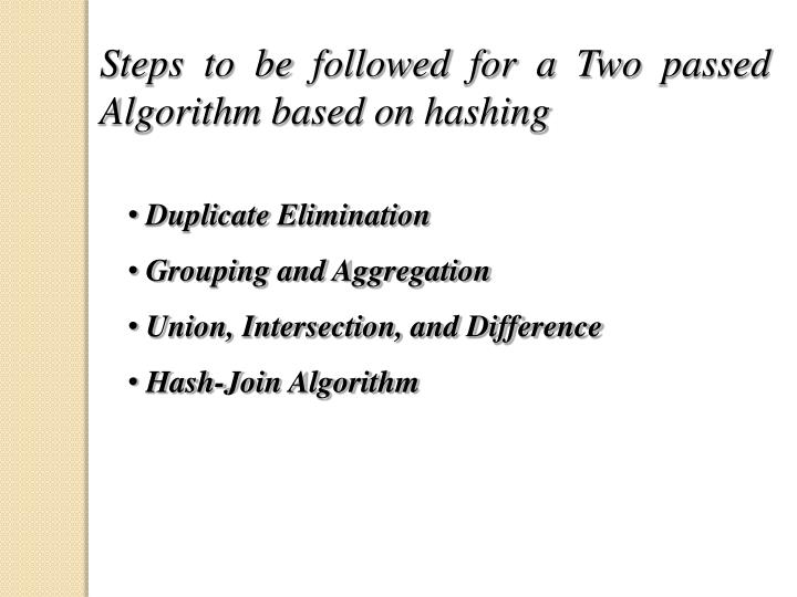 Steps to be followed for a Two passed Algorithm based on hashing
