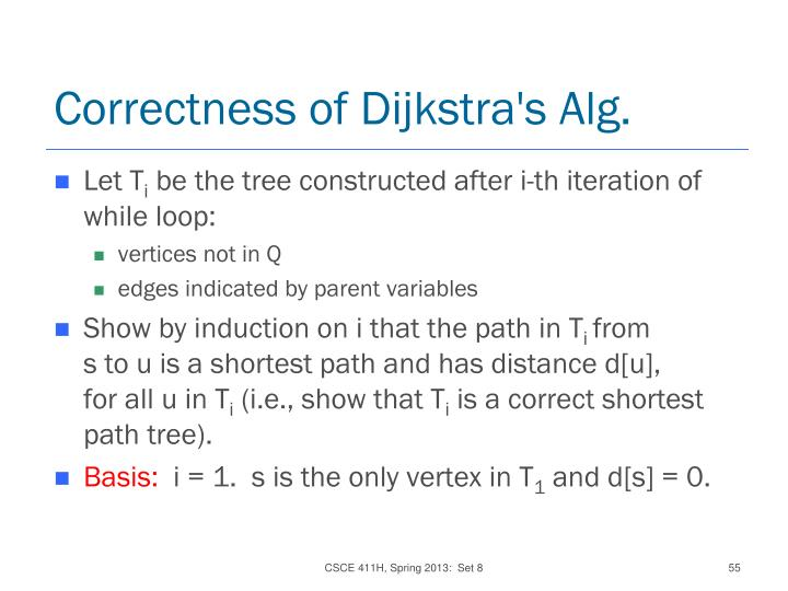 Correctness of Dijkstra's Alg.
