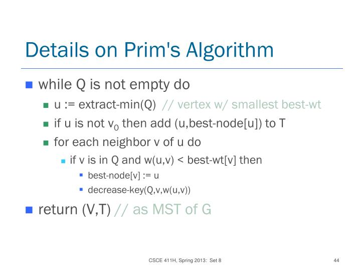 Details on Prim's Algorithm