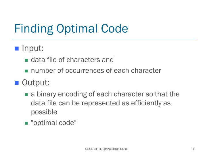 Finding Optimal Code