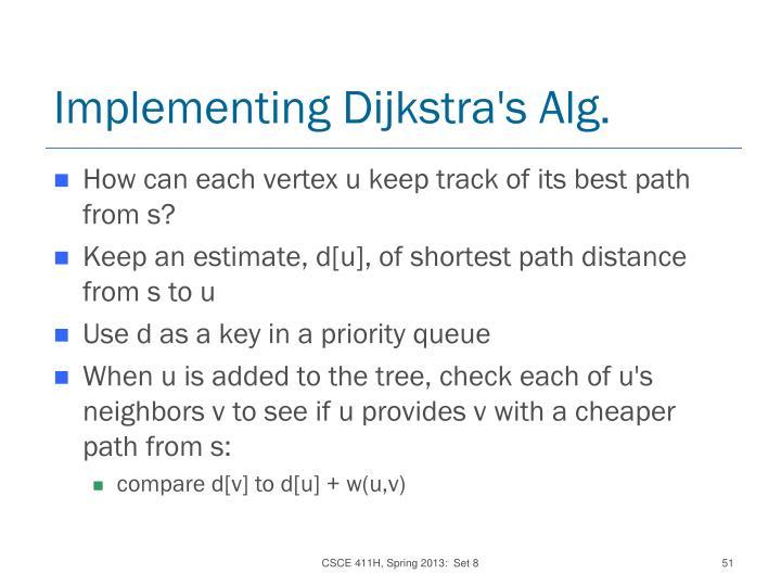 Implementing Dijkstra's Alg.
