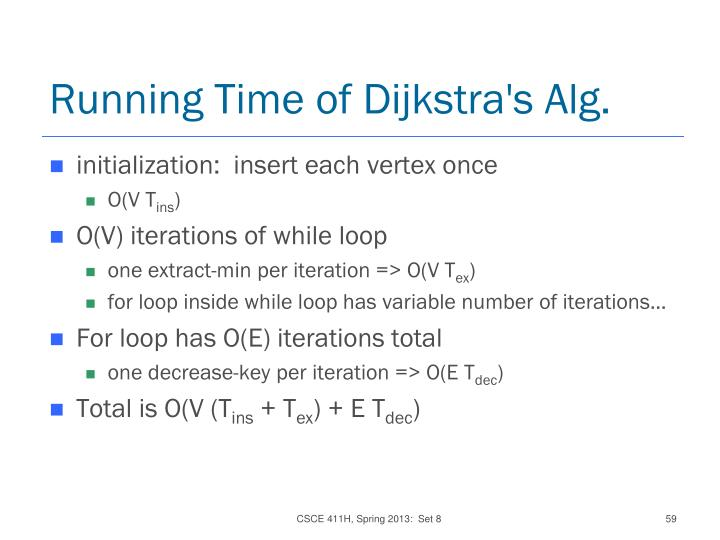 Running Time of Dijkstra's Alg.
