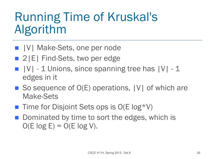 Running Time of Kruskal's Algorithm
