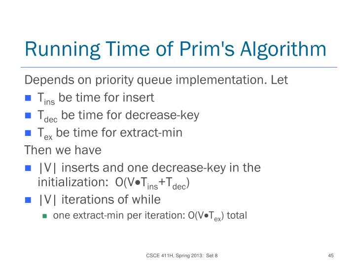 Running Time of Prim's Algorithm