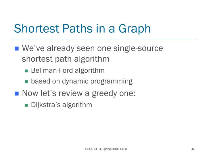 Shortest Paths in a Graph