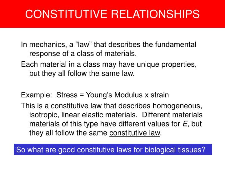 CONSTITUTIVE RELATIONSHIPS