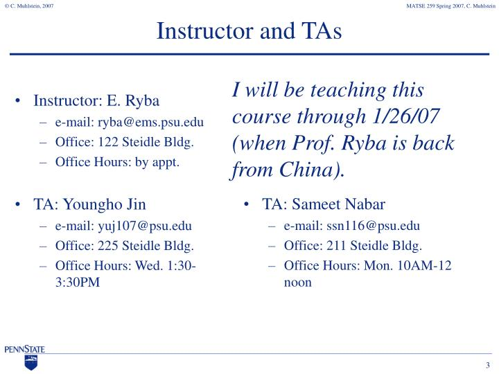 Instructor and tas