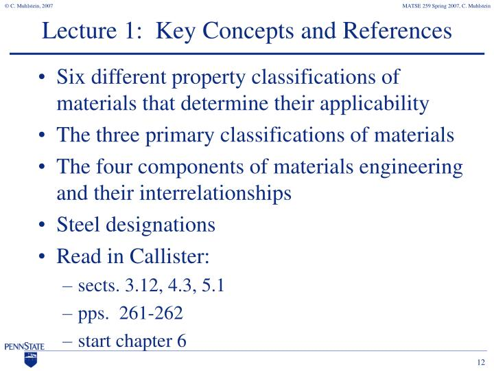 Lecture 1:  Key Concepts and References