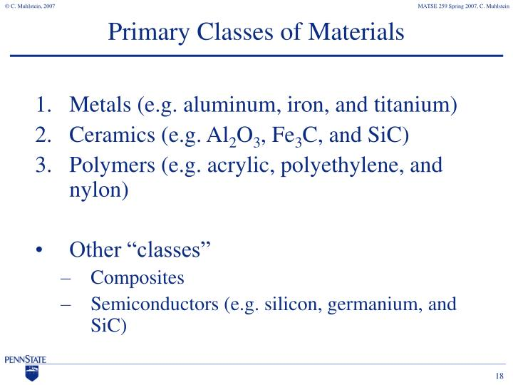 Primary Classes of Materials