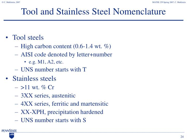 Tool and Stainless Steel Nomenclature