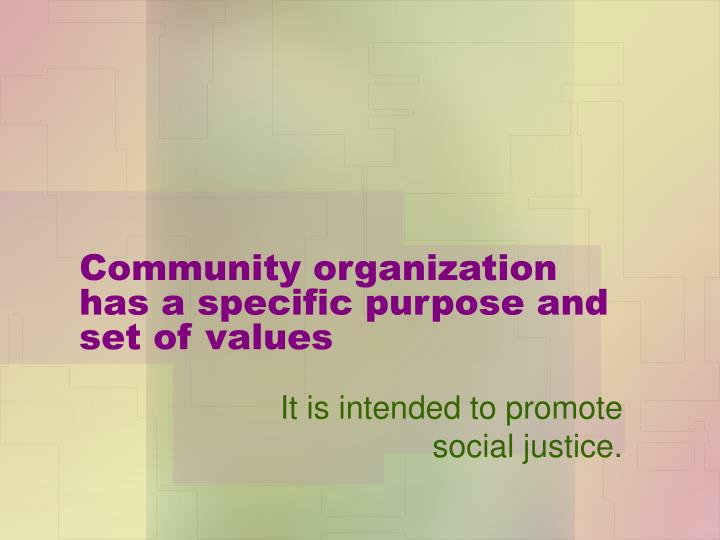 Community organization has a specific purpose and set of values