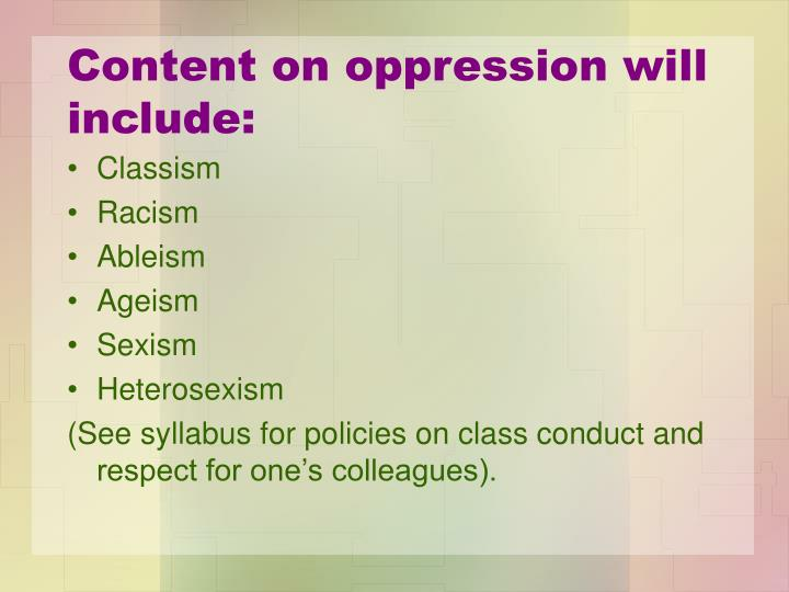 Content on oppression will include: