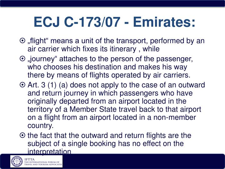 ECJ C-173/07 - Emirates: