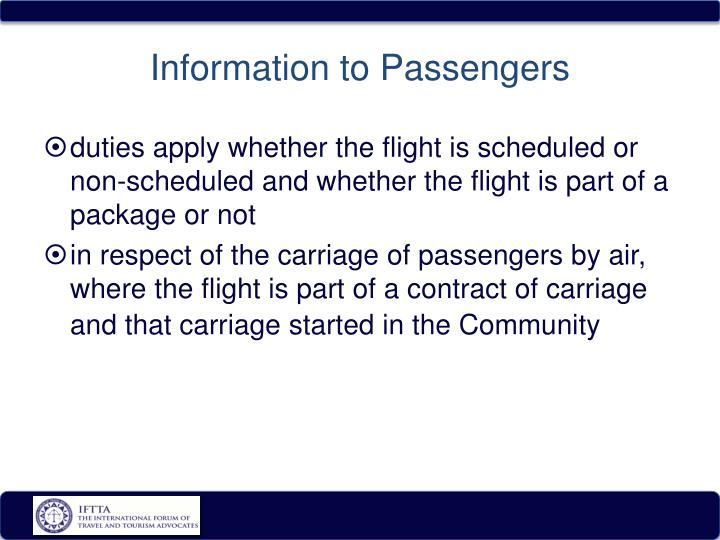 Information to Passengers