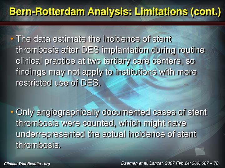 Bern-Rotterdam Analysis: Limitations (cont.)