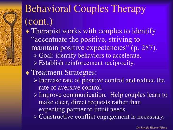 Behavioral Couples Therapy (cont.)