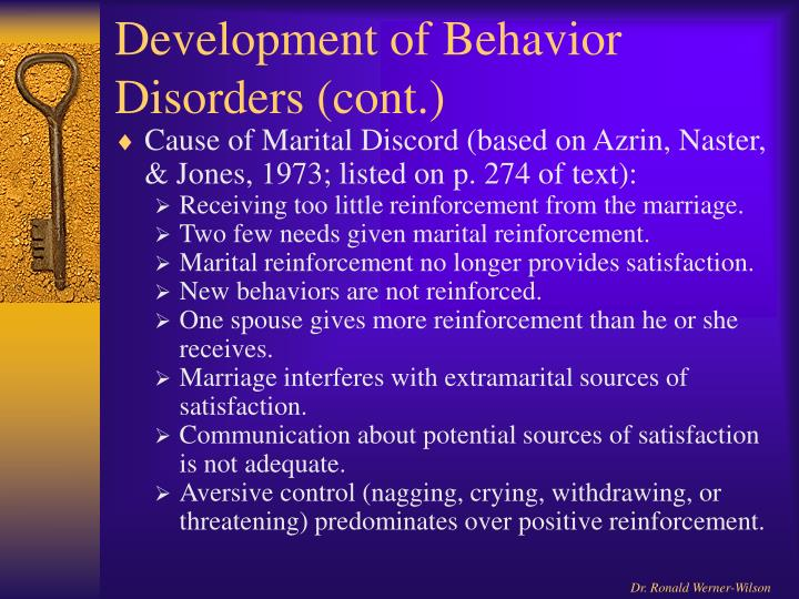 Development of Behavior Disorders (cont.)
